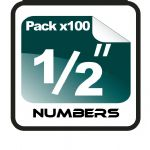 "1/2"" (half inch) Race Numbers - 100 pack"